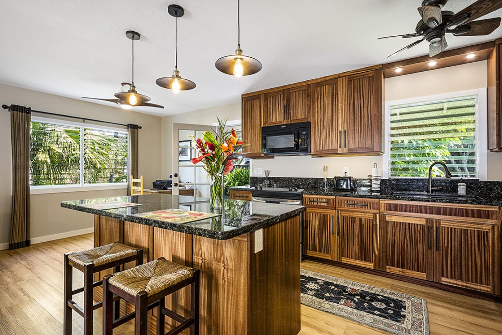 A beautiful custom built kitchen with all new appliances.