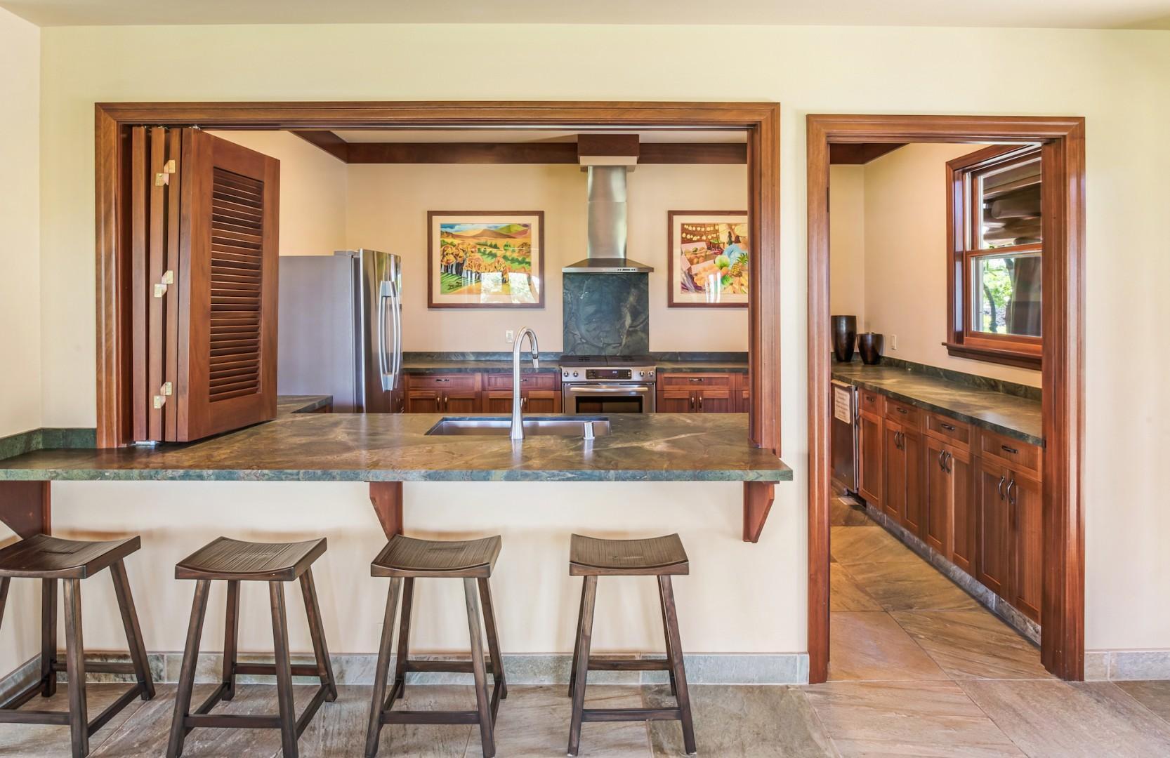 Hana Pono Park Community Kitchen w/ Bar Connecting Lounge Area