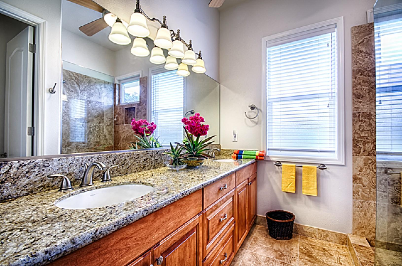 Beautiful guest bathroom with gorgeous step in shower.