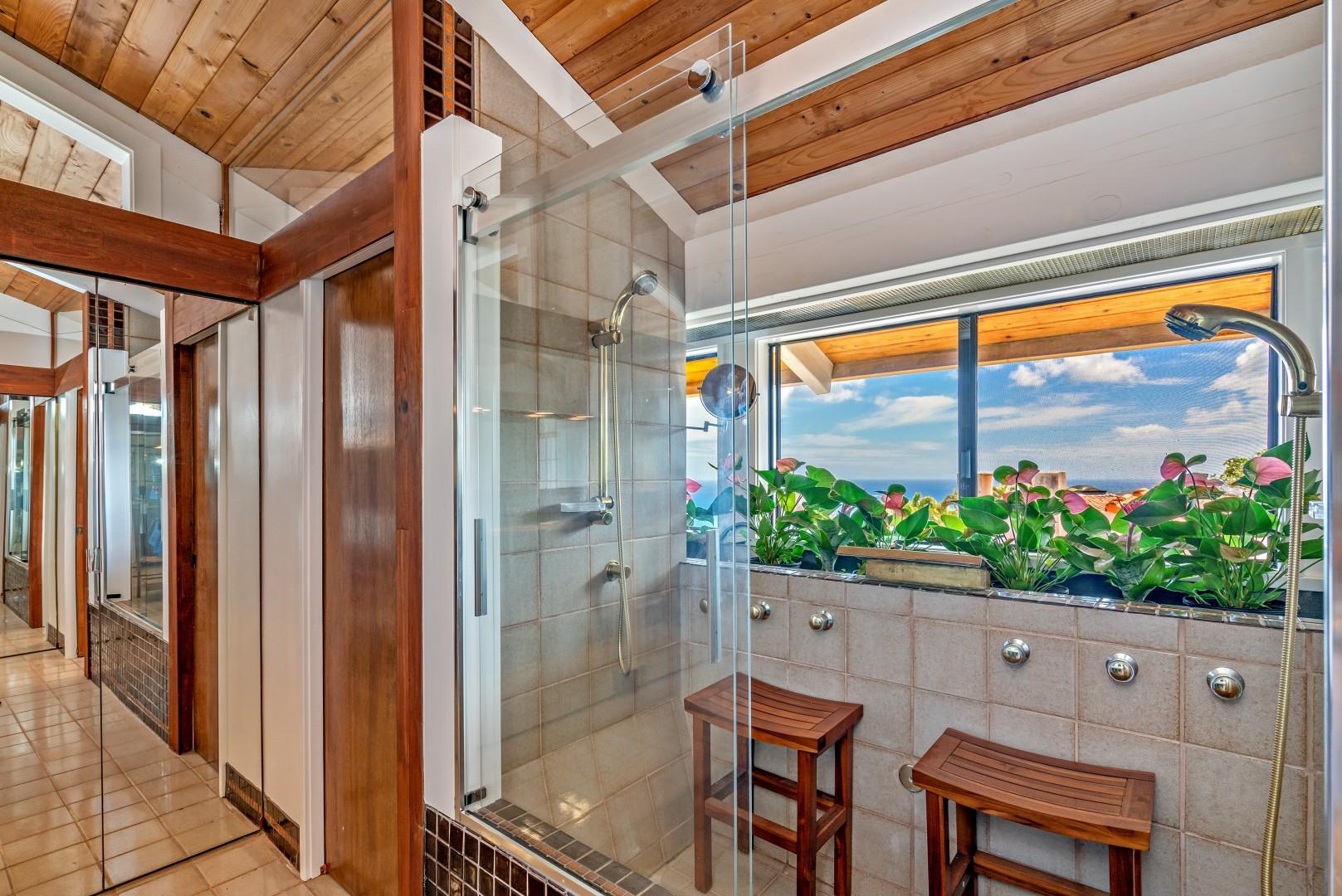 Step into a dual shower while enjoying the ocean view.