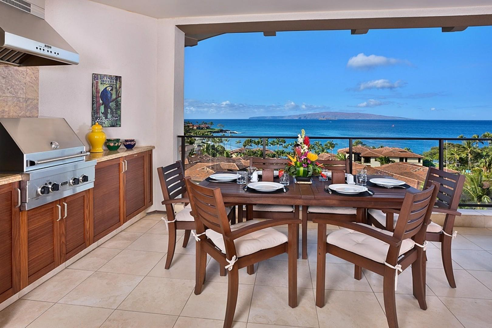 At K508 Enjoy a Viking Stainless Gas Grill and Cook-out Area with Patio Dining for Six Guests and the best view in Wailea Resort!