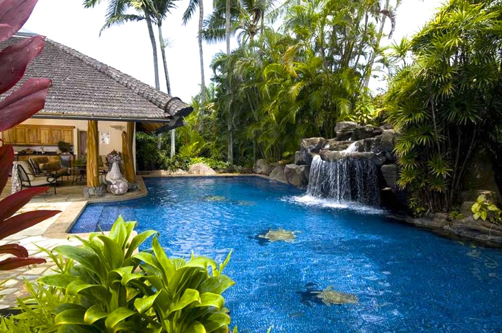 Salt water pool and Pool House