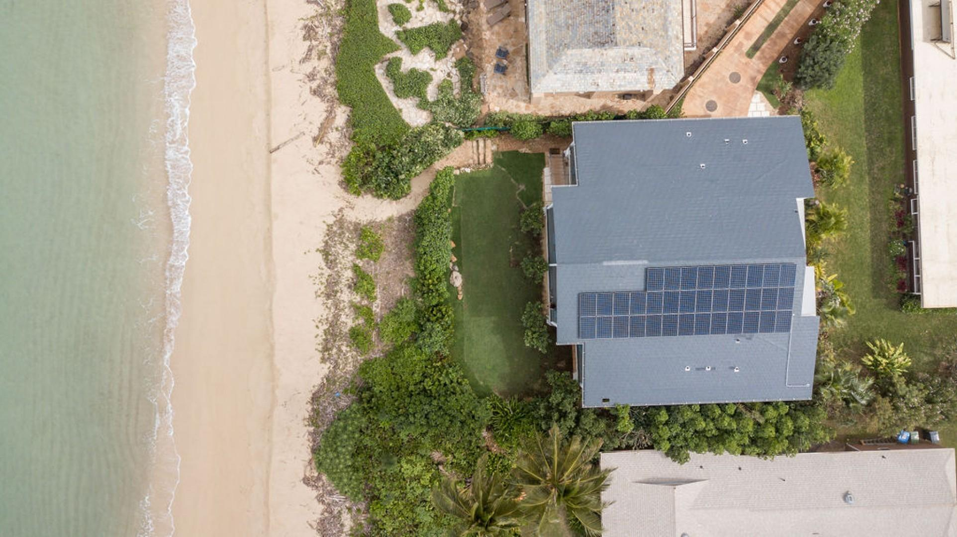 Aerial shot of property fronting the beach