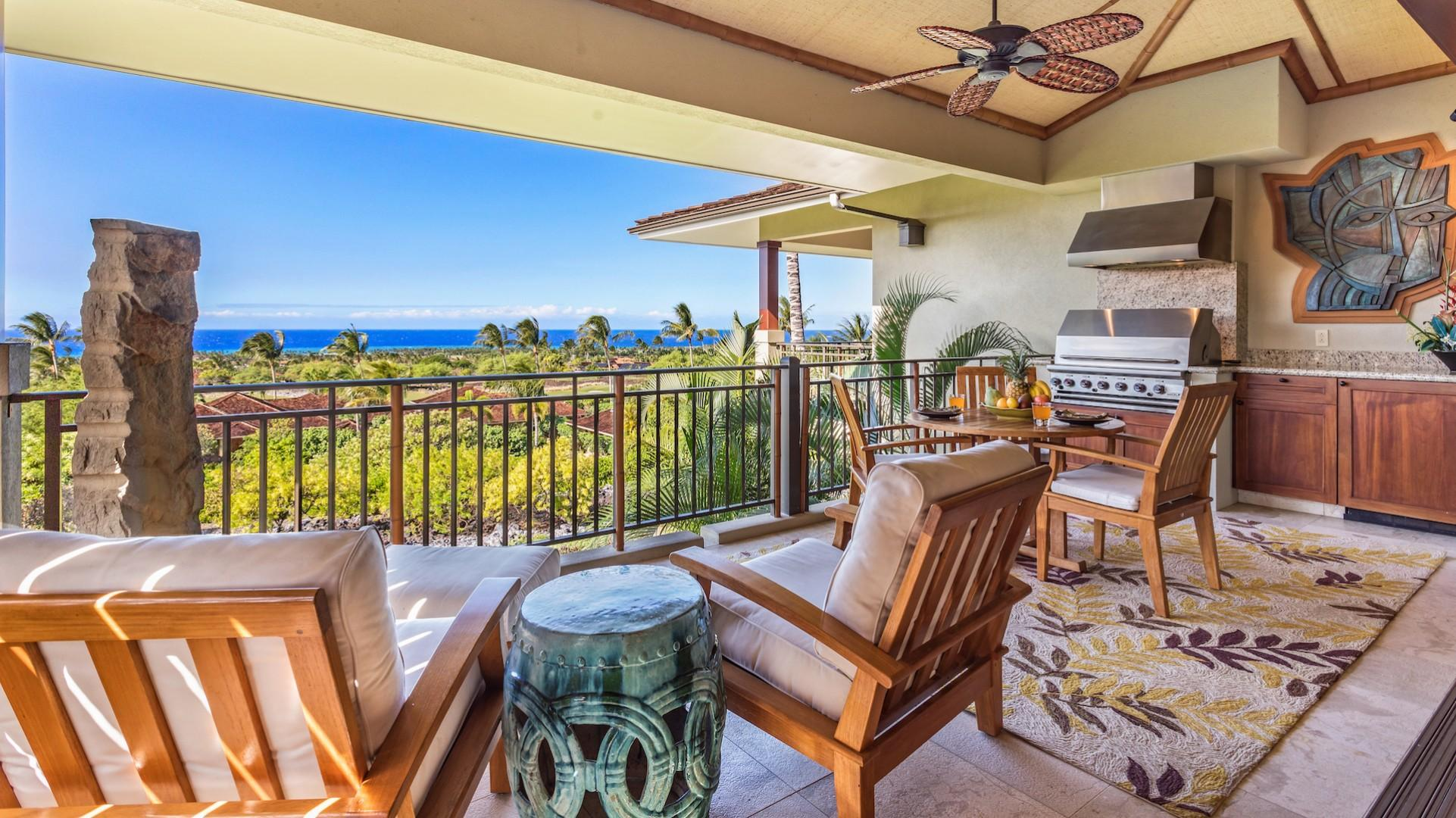 Ocean & Sunset Views from the Generous Lanai with Plush Chairs, Dining Area & BBQ Grill.