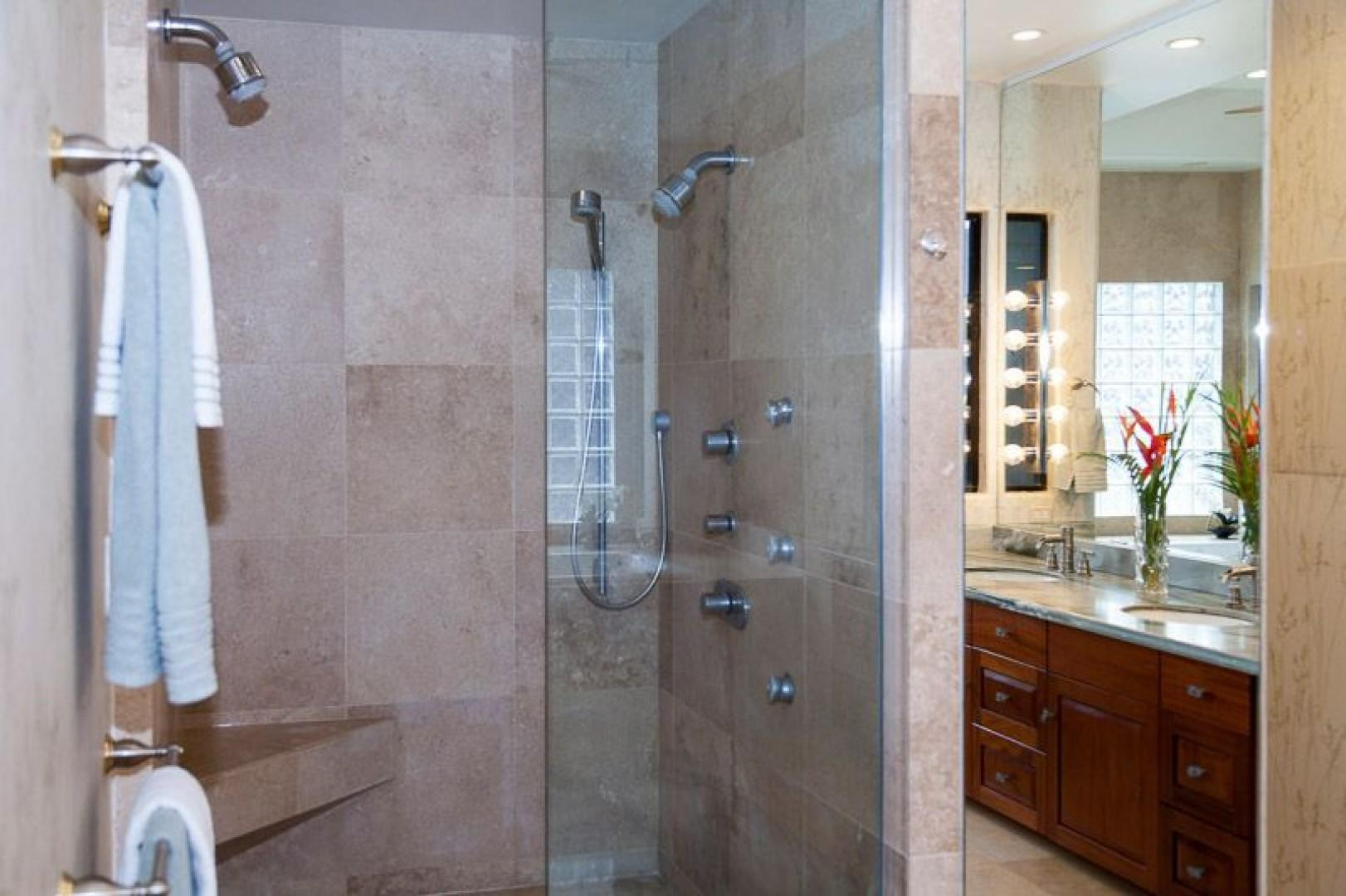 South Master Bath with walk in shower and double vanity