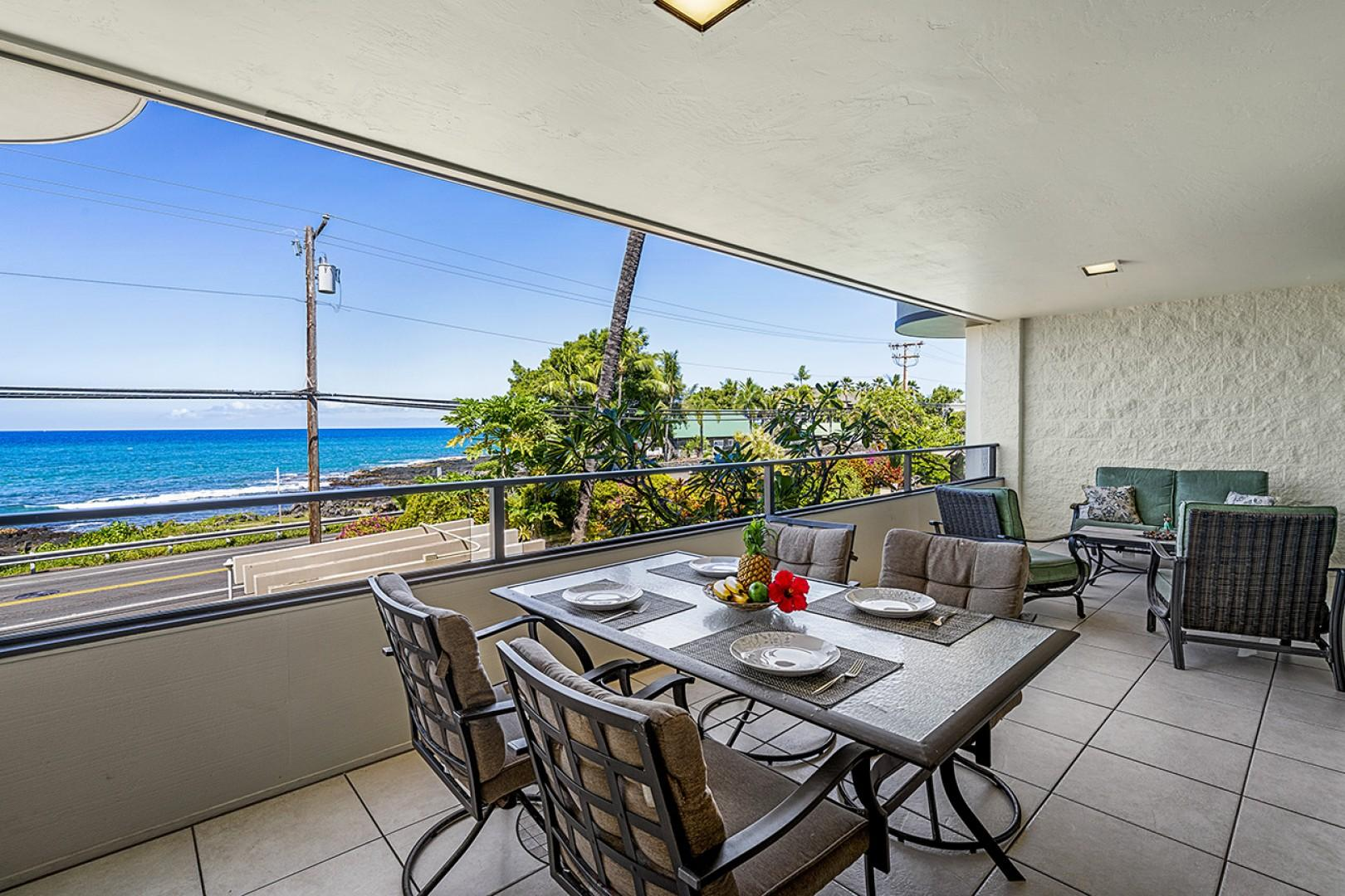 Outdoor dining to take in those ocean breezes!