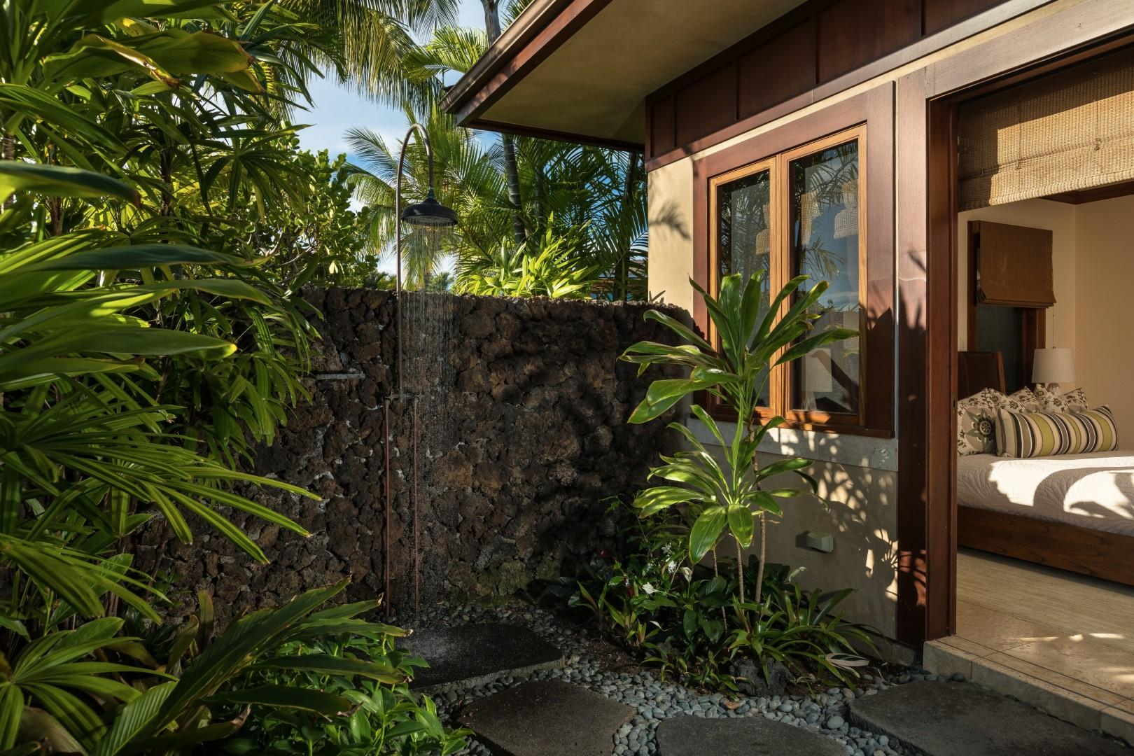Outdoor tropical shower garden - each bedroom in this estate home has its own!