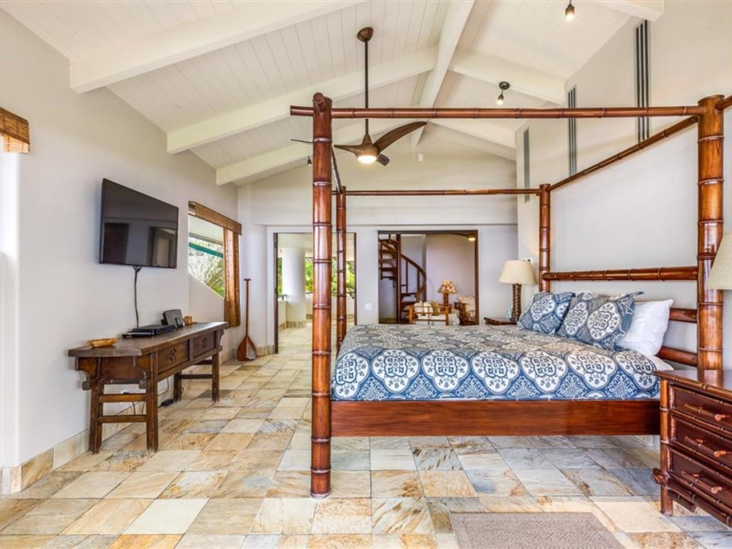 Vaulted ceilings, ceiling fans and wonderful natural light throughout