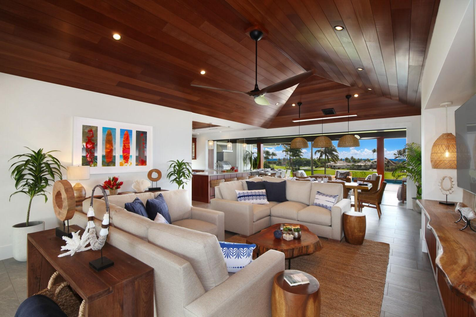Open living space with ocean views