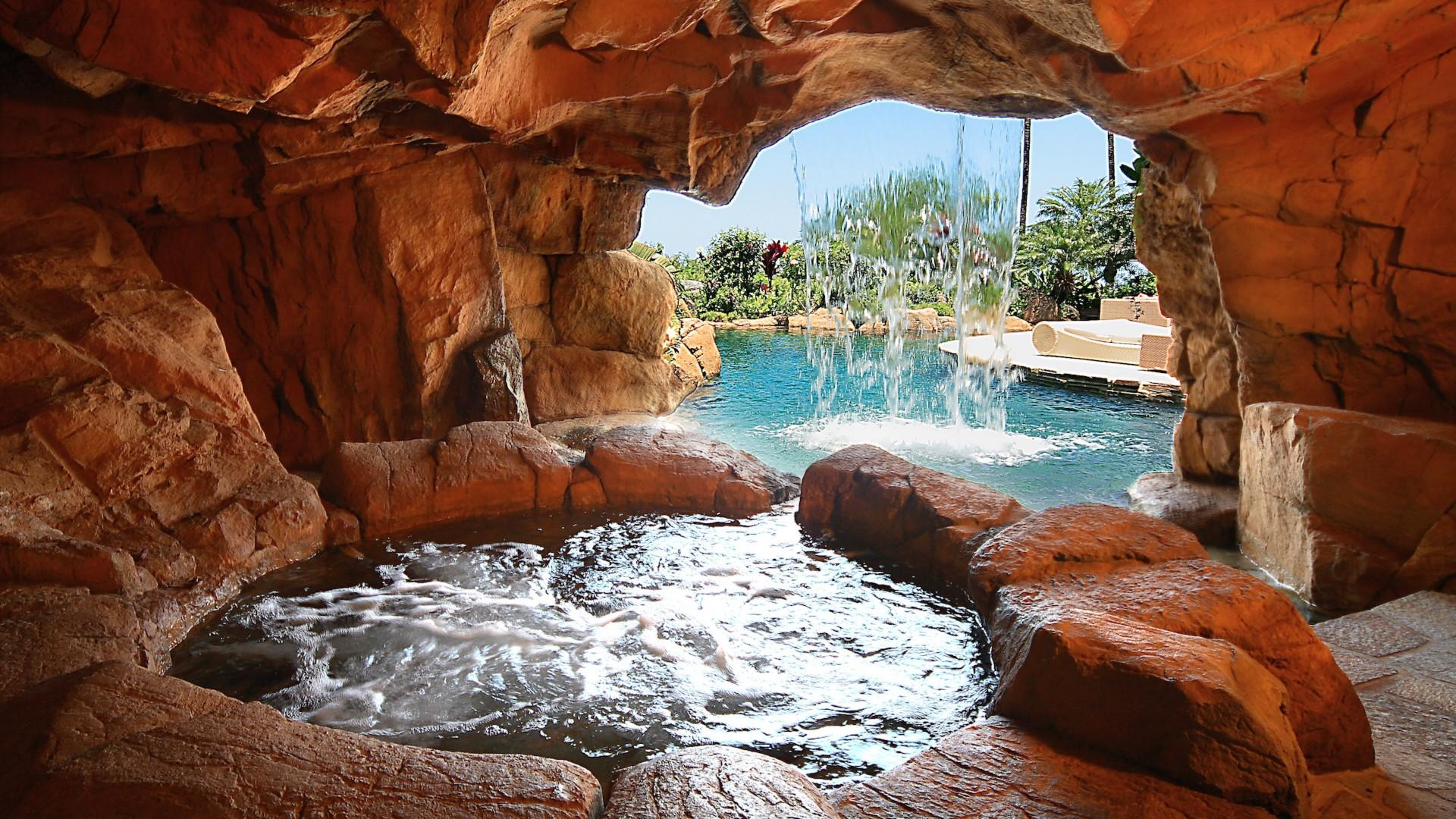 Jacuzzi grotto under waterfall - swim in or walk in and enjoy!