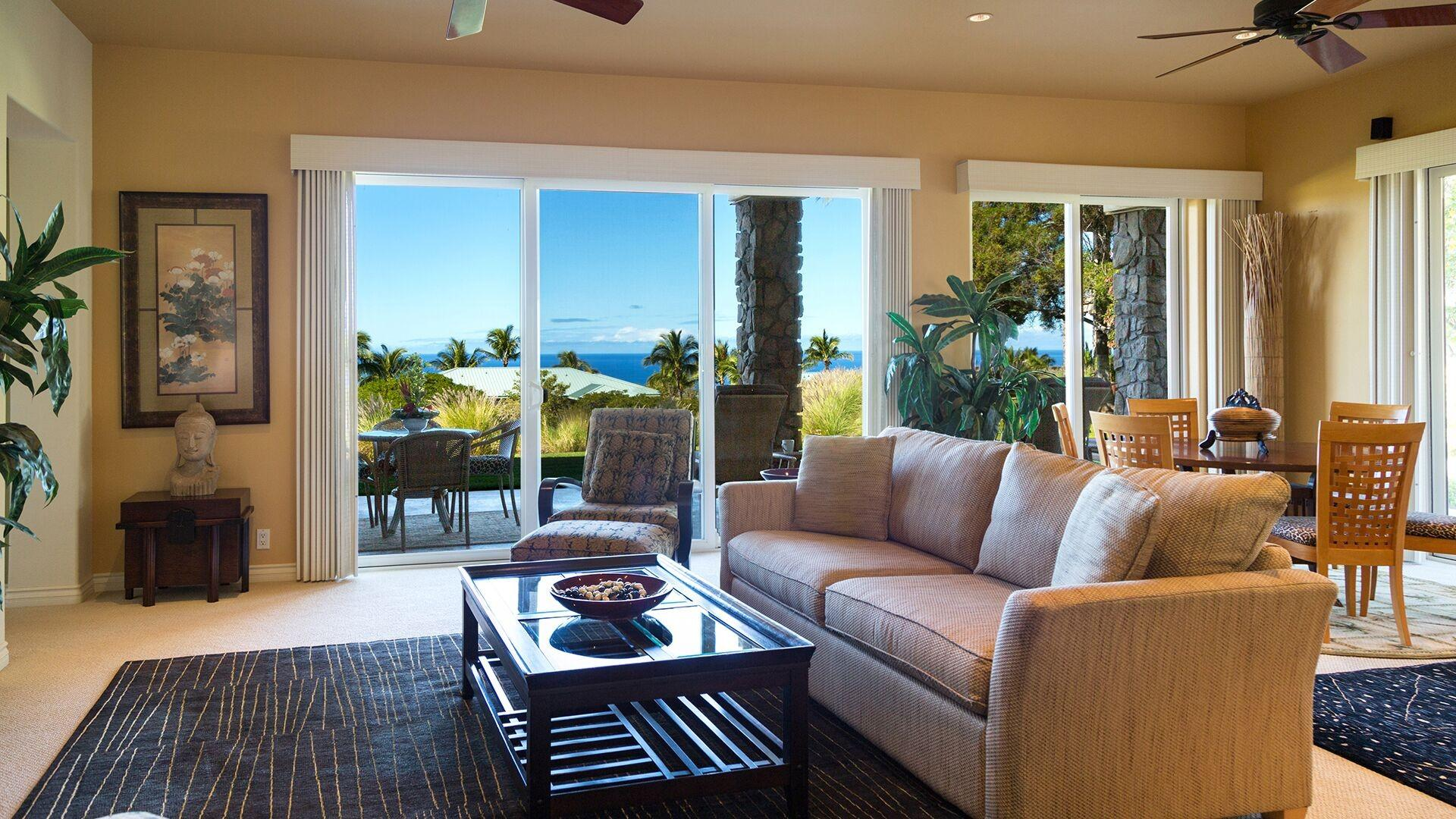 The living and dining room have wonderful ocean views. There is a smart TV and a DVR to record shows while you are at the beach. The couch is also a sofa bed if you need to utilize it.