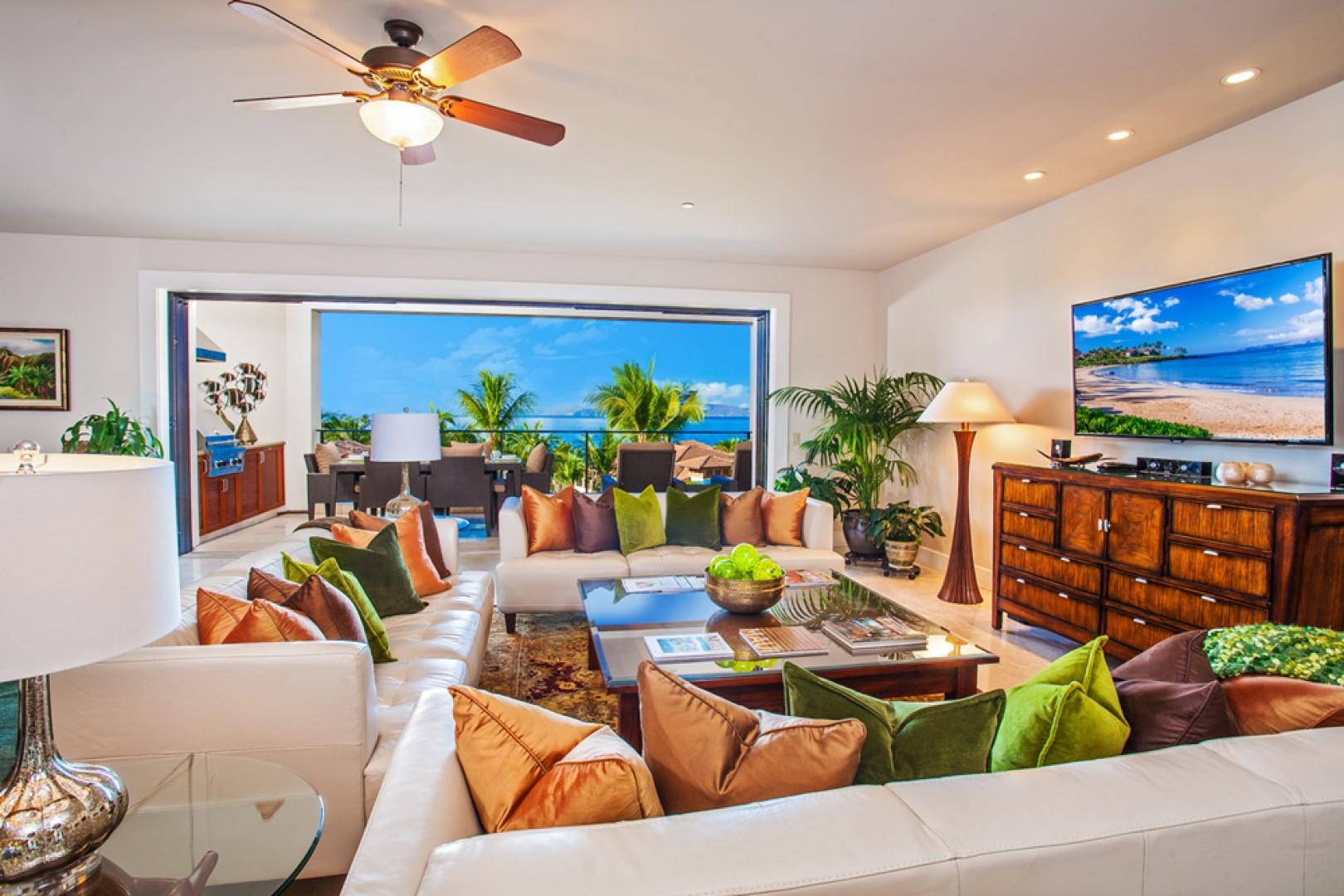 Blue Horizons K308 - Ocean View Great Room with Indoor Dining for Eight, Large HDTV, HD Cable, DVD/CD, Sofa Seating for Eight Guests, Alfresco Veranda with Grill, Dining and Lounging