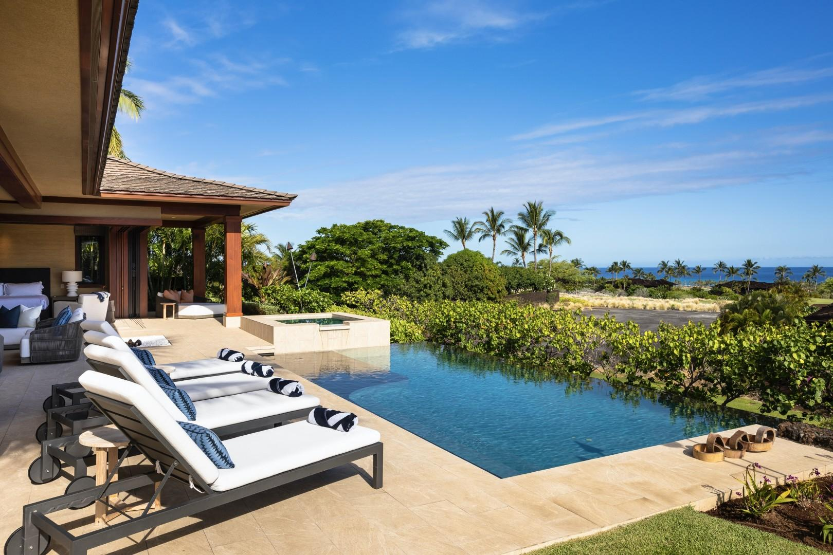 Gorgeous new construction luxury estate home professionally designed by Gina Willman Interiors with infinity pool, private spa and ocean views.