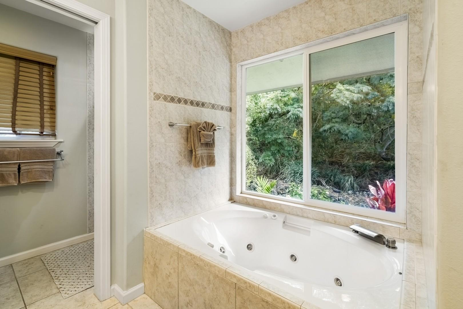 Master Bath with views of the garden