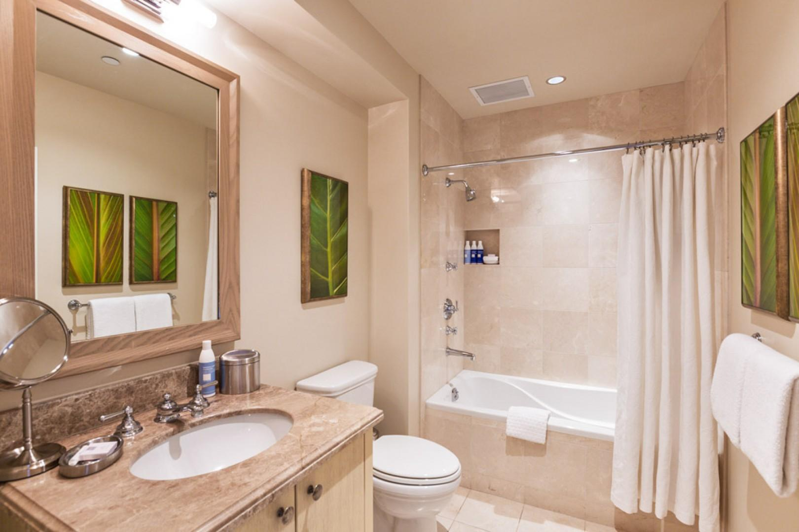 Third en suite marble bathroom with tub and shower.