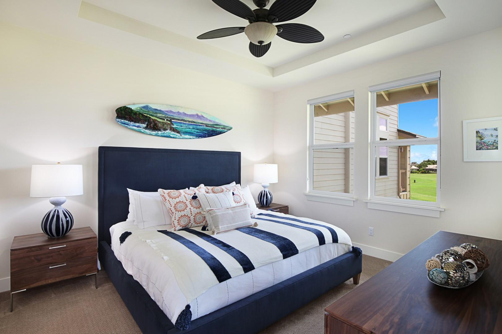 Master bedroom with golf course views