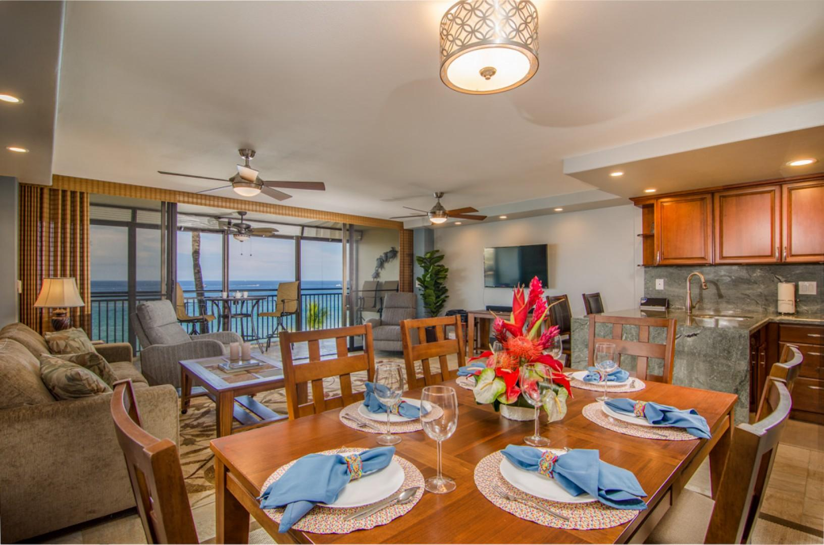 Enjoy a home cooked meal at this large dining table.