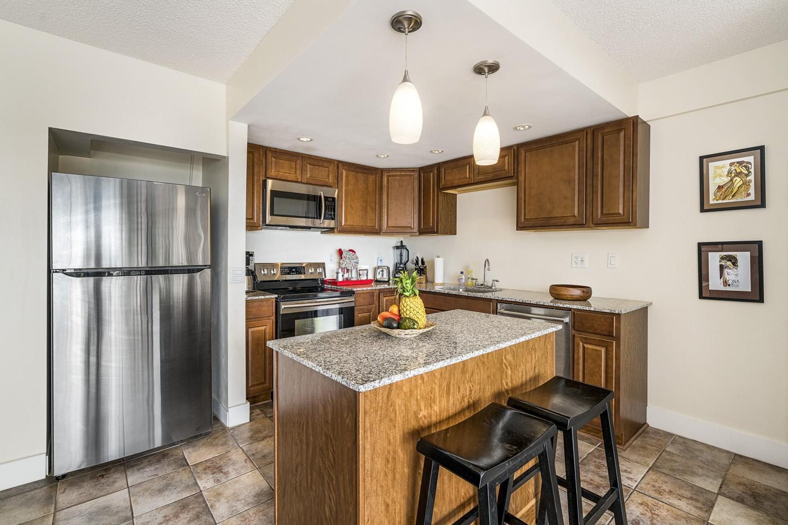 Upgraded appliances in the spacious fully equipped kitchen!