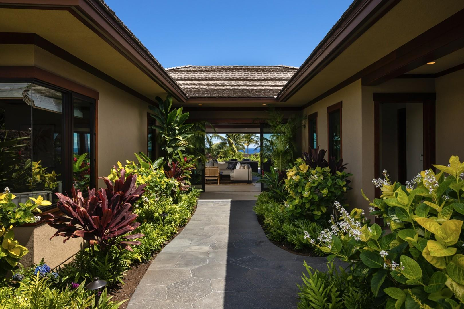 Sublime landscaping and serene water features welcome you to your private oasis in paradise.
