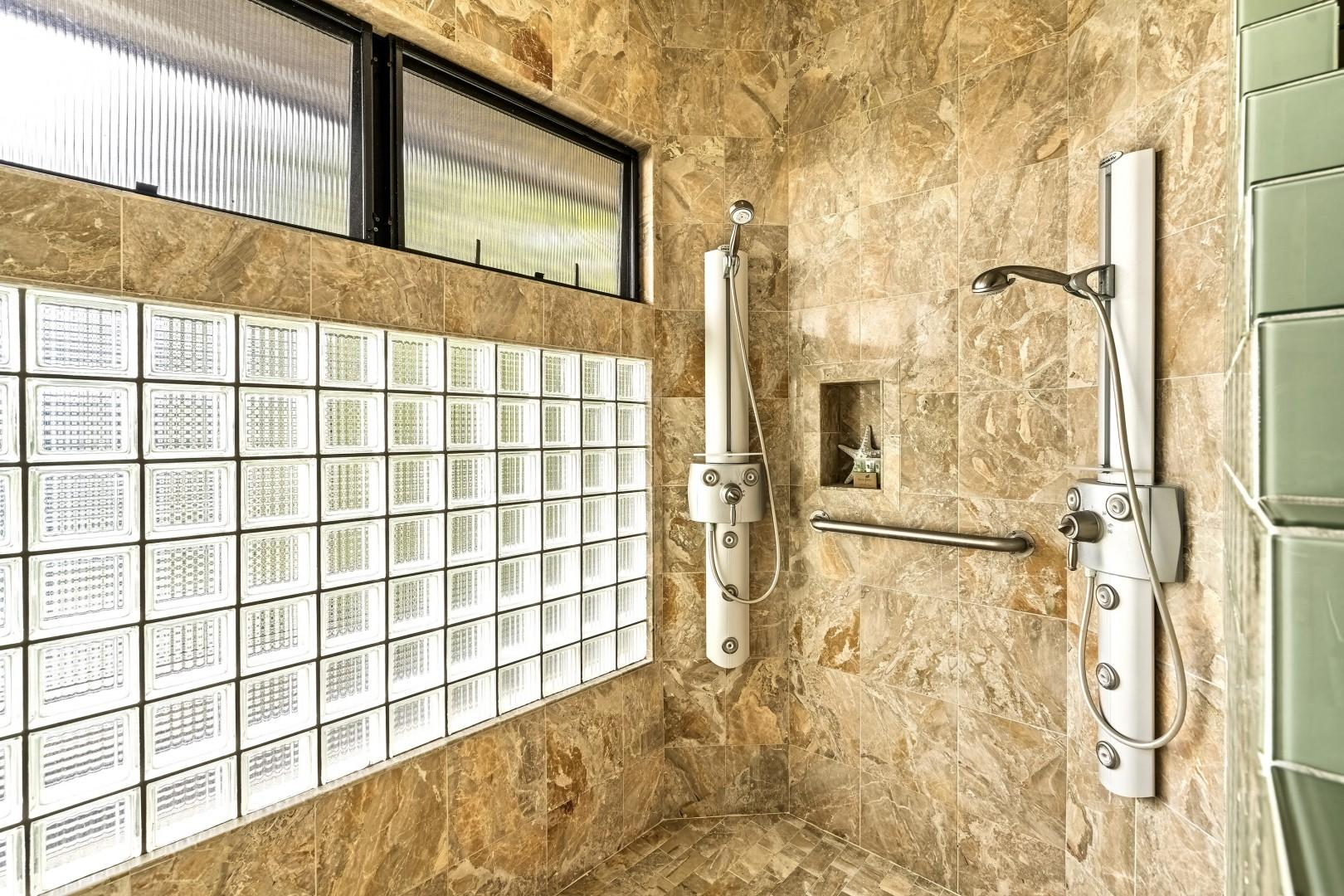 Walk in shower with multiple jets!
