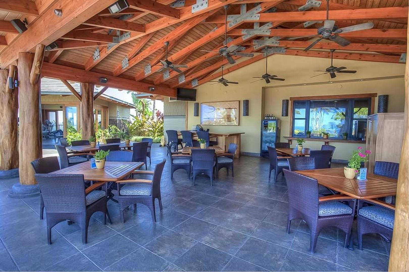 Enjoy poolside dining at the Ocean View Cafe and Happy Hour