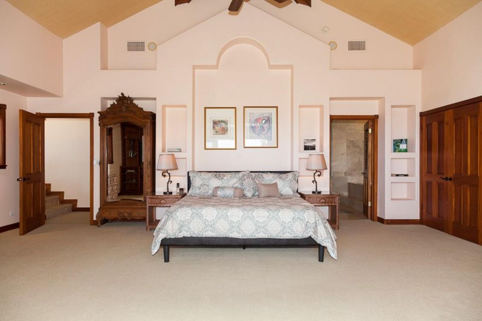 South Master Suite with king bed and wood closets