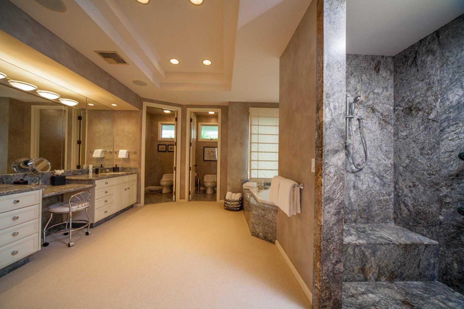 Opal Seas At Baby Beach - Master Bedroom En-suite Bath with Two Private WC, A Double Glassed-In Shower with Body Shower Heads, Deep Tub, Dual Vanities, Hair Dryers, Scale, Make-Up Mirror, Bathrobes, Abundant Plush Towels and more...