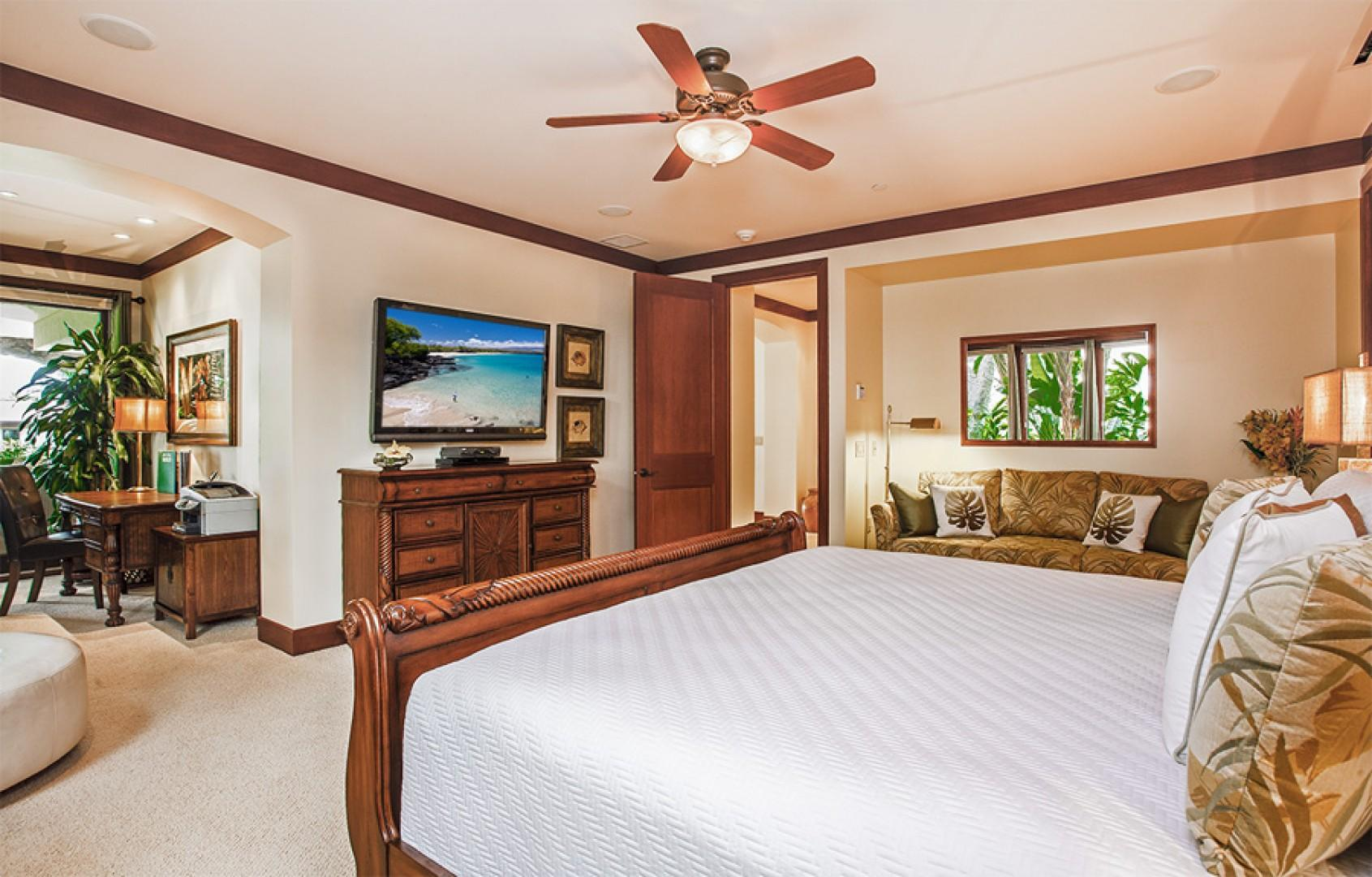 Alternate view of second master bedroom, with king bed.