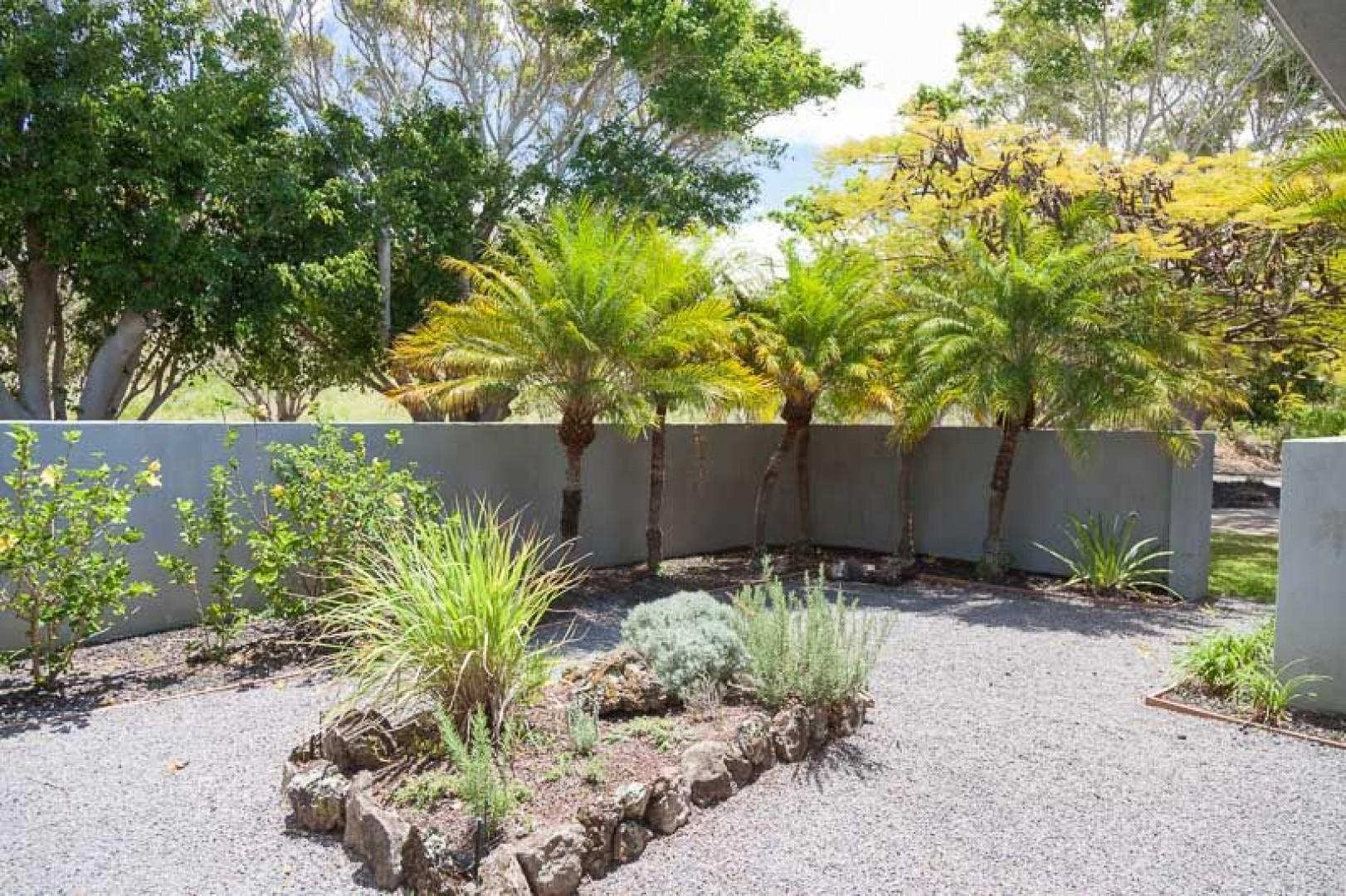 Zen garden and courtyard off the dining room