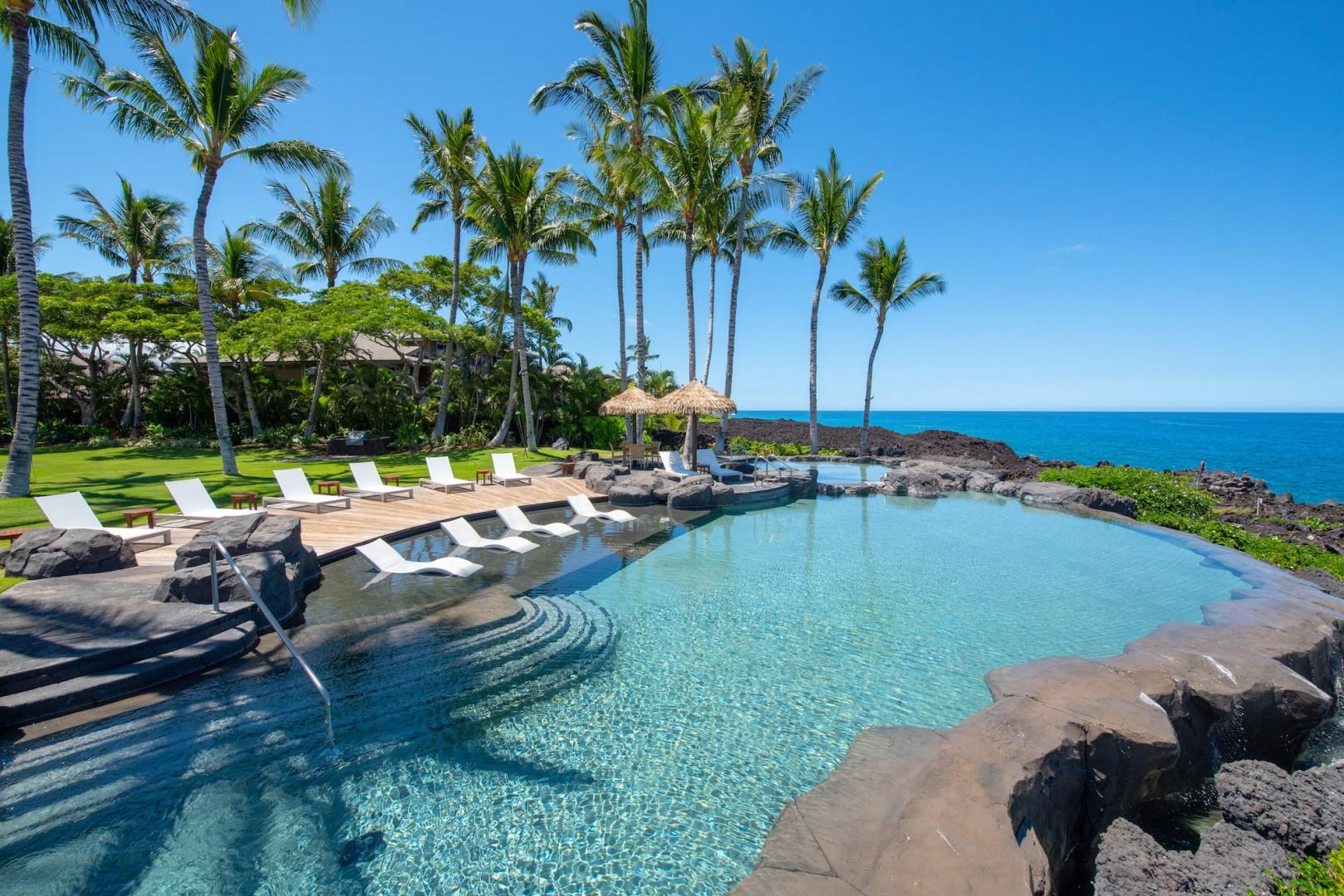 The Grotto Amenity Center Infinity Pool at the Seacliff's Edge