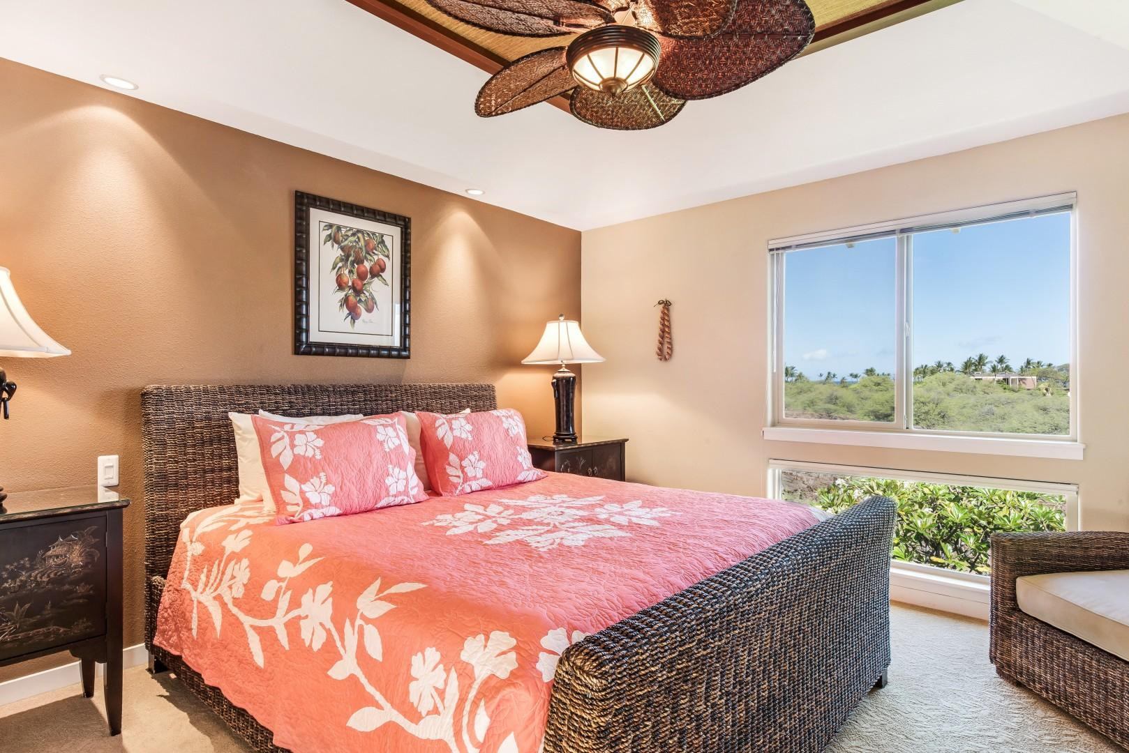 Elegant Master Bedroom w/ King Bed & Large Windows Looking West for Brilliant Sunsets Every Evening