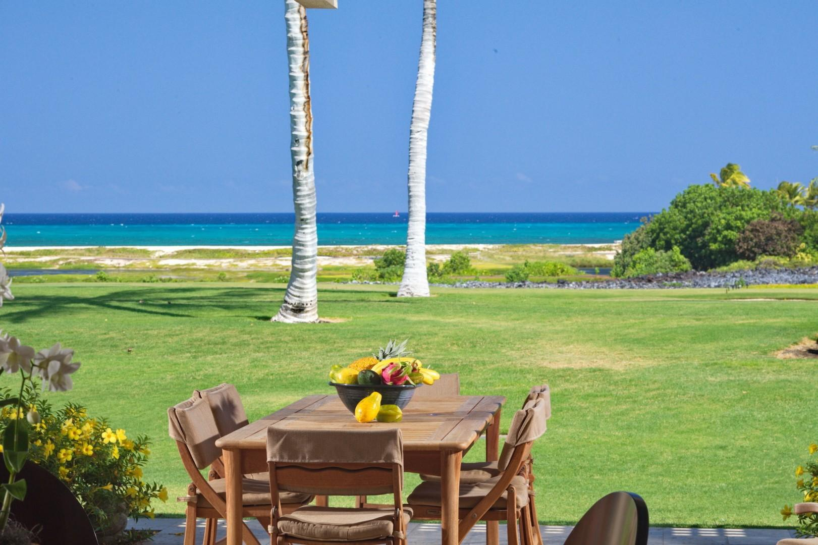 Al fresco dining seating for six on your lanai at the prime and coveted golf villa location with expansive views.