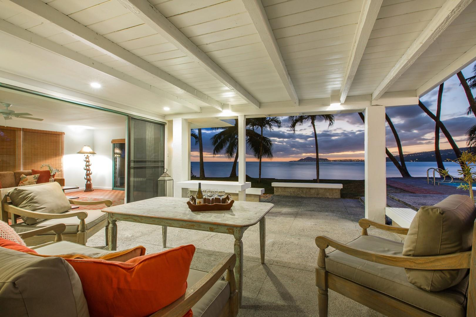 Take in the sunset views from the covered lanai!