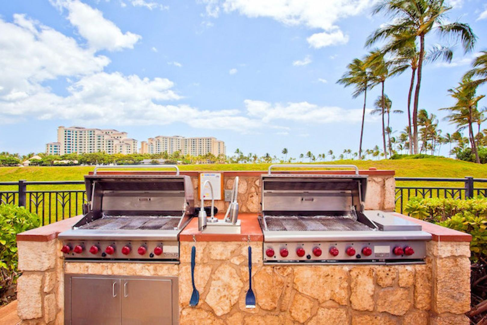Grills by the pool are first come first serve