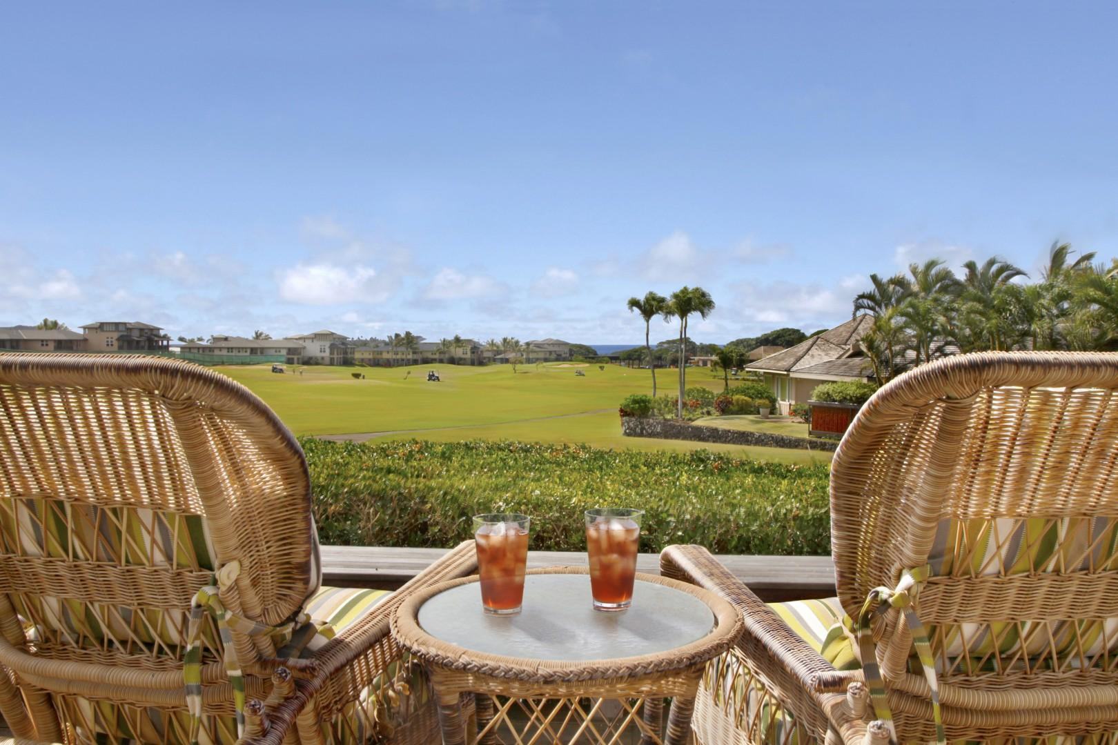 Sunset Lanai with golf course and distant ocean view
