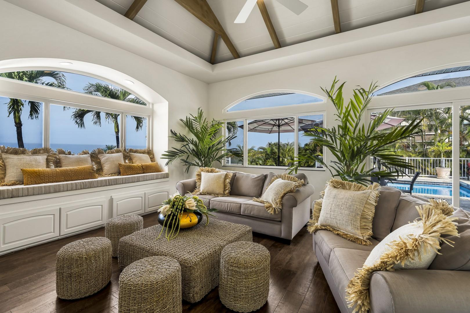 Designer inspired living room with breathtaking views of the coast!