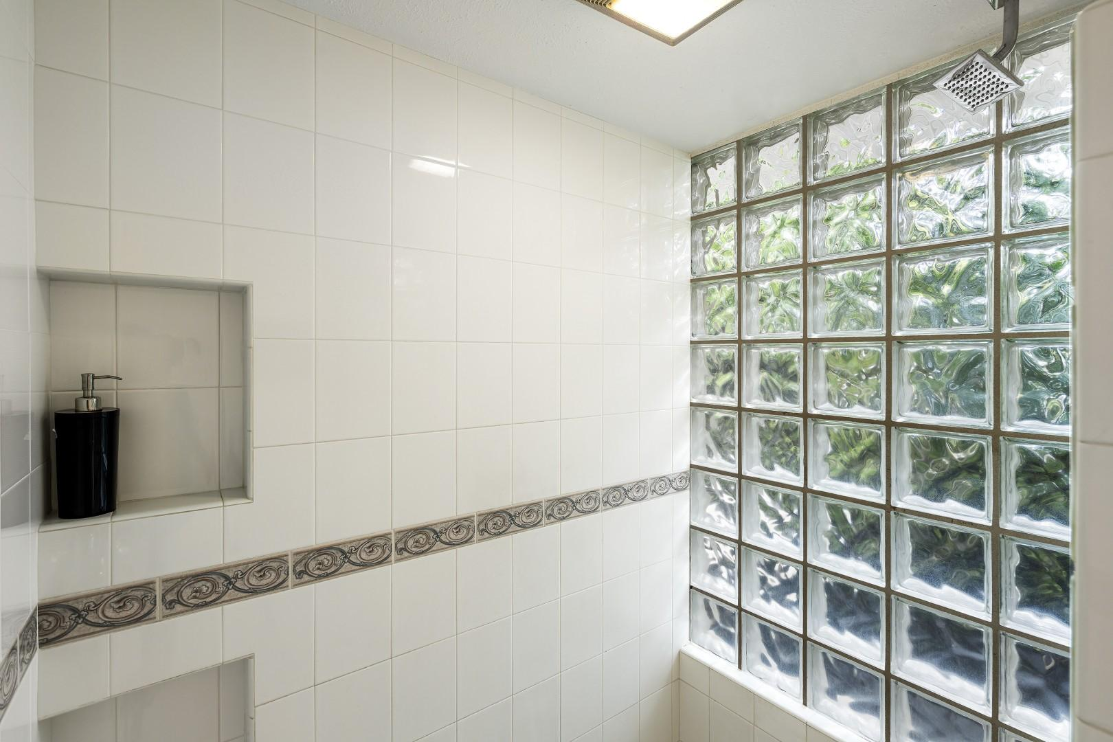 Large walk-in shower in the Master bathroom