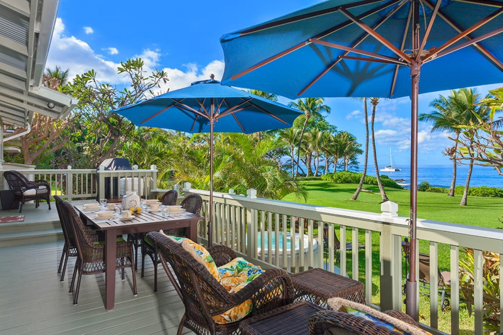 Wailea Sunset Bungalow - Ocean Front Patio with BBQ, Outdoor Dining & Lounging and Hot Tub