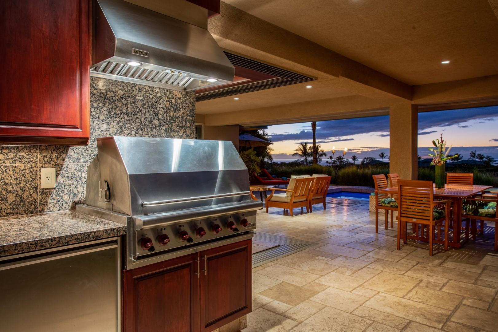 Built-in barbecue area at sunset