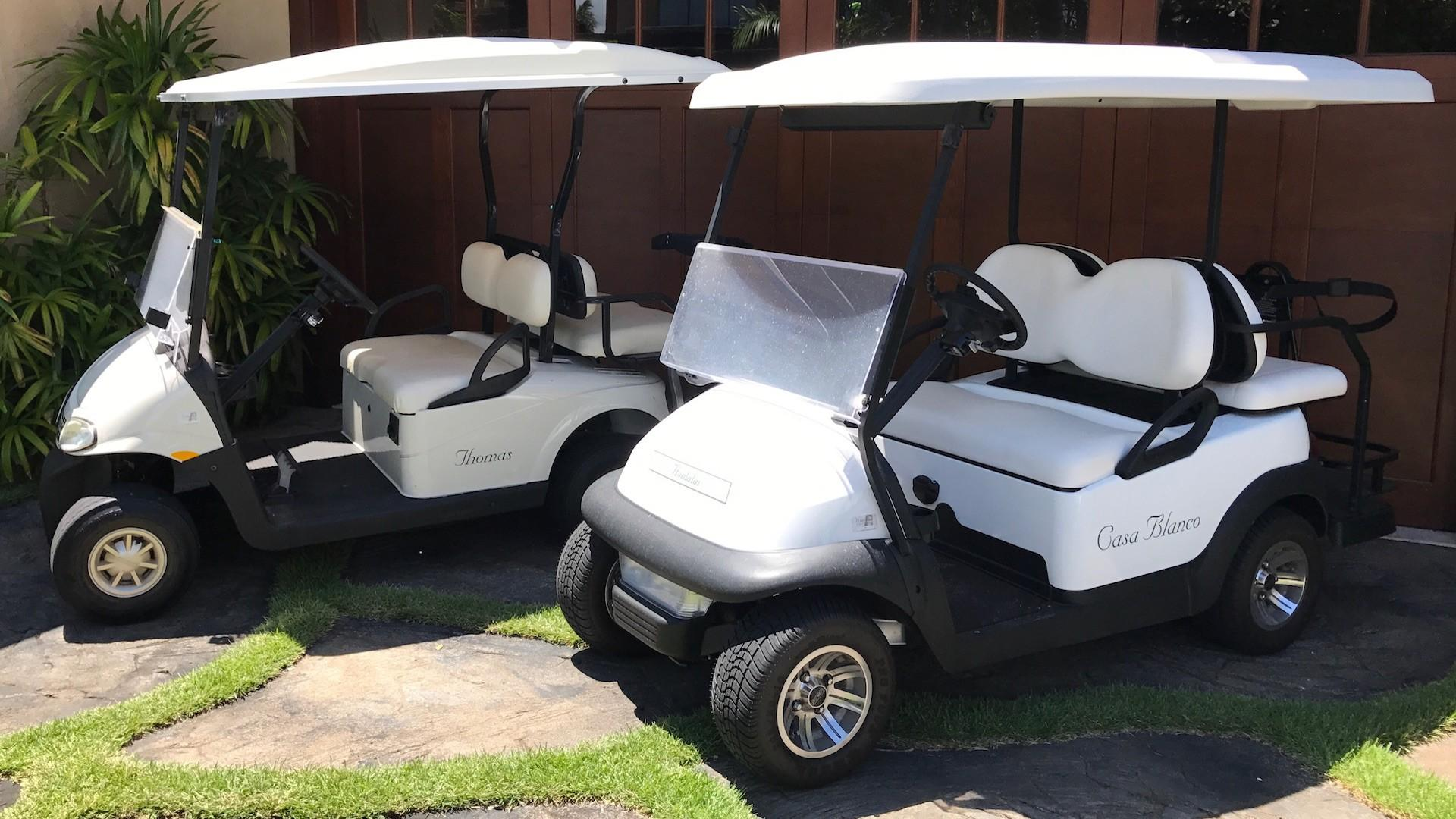 Two golf carts included for cruising the resort in style.
