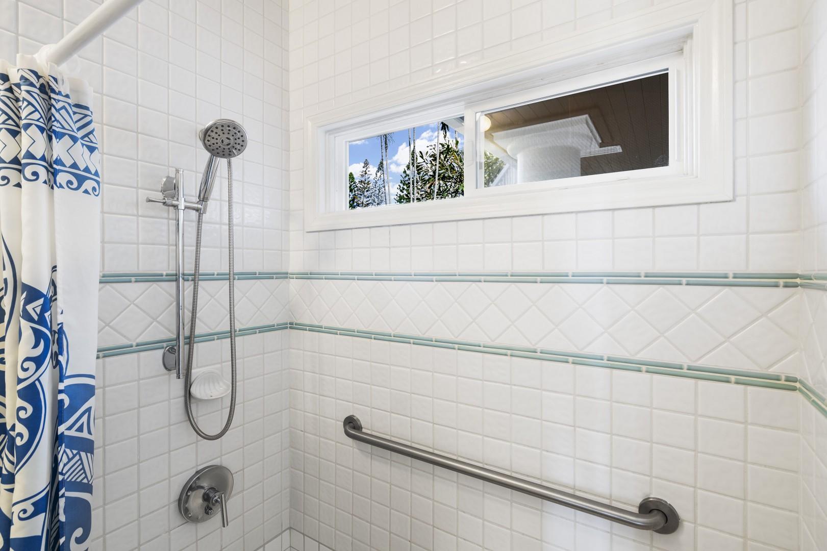 Walk-in shower in the downstairs bedroom ensuite