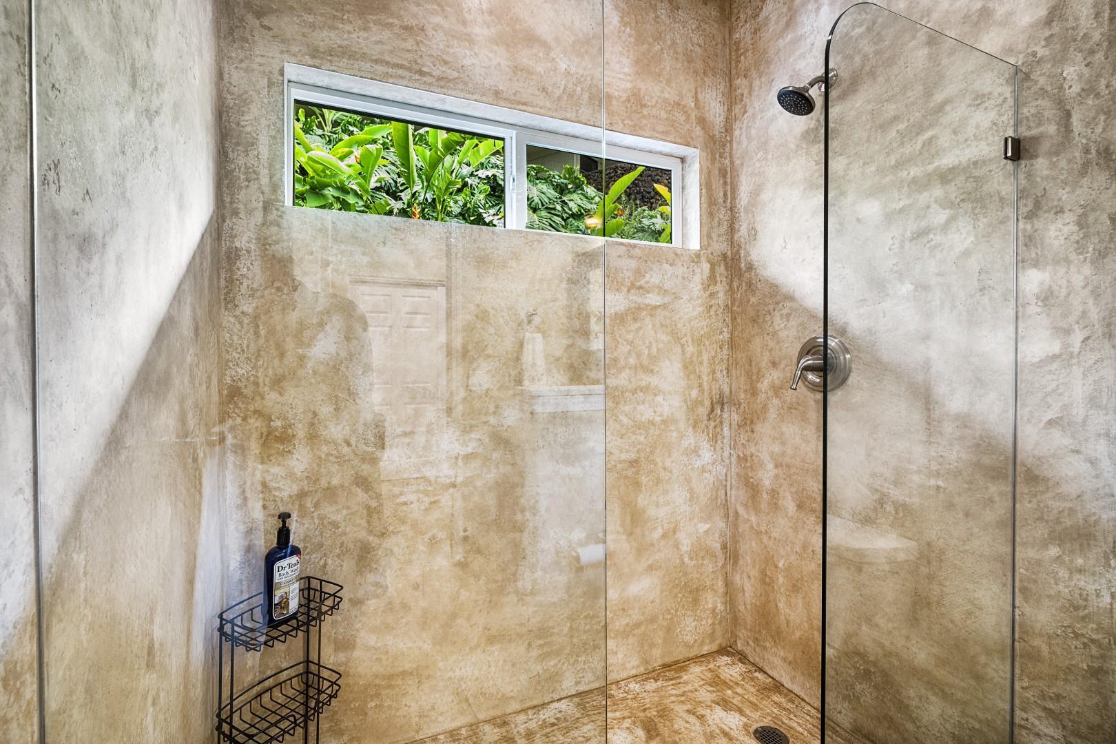 Walk-in shower in the Guest bathroom