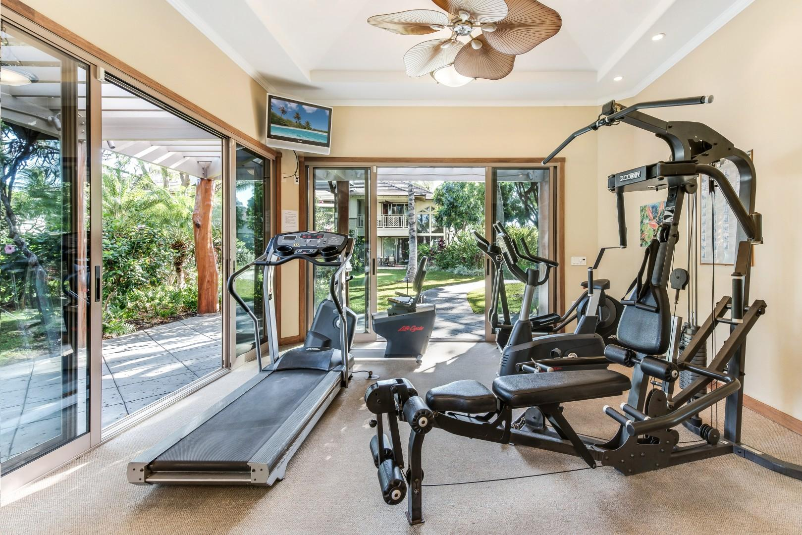 Air-Conditioned Fitness Room w/ Glass Doors Brings the Beautiful Outside In