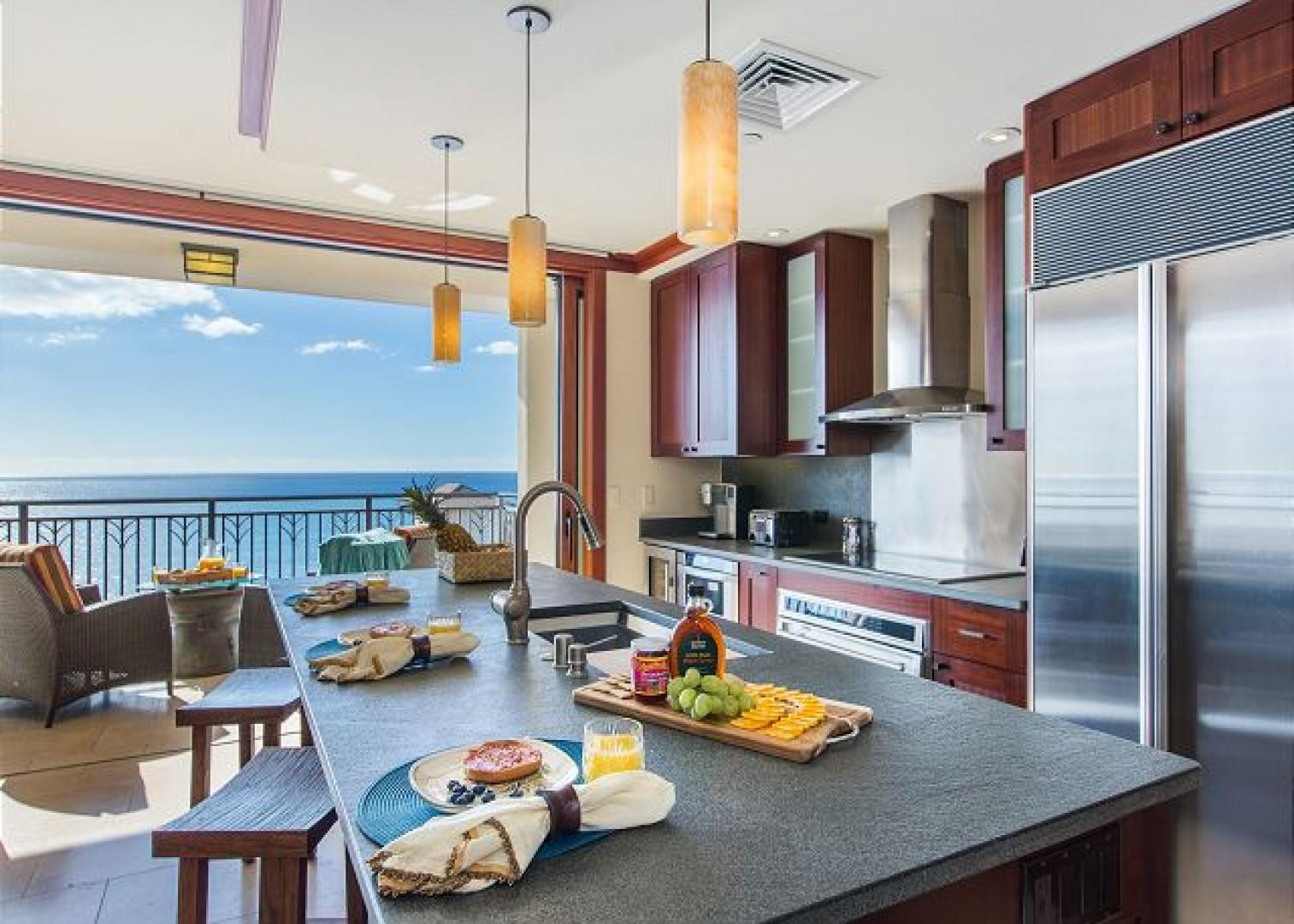Ocean views from the kitchen