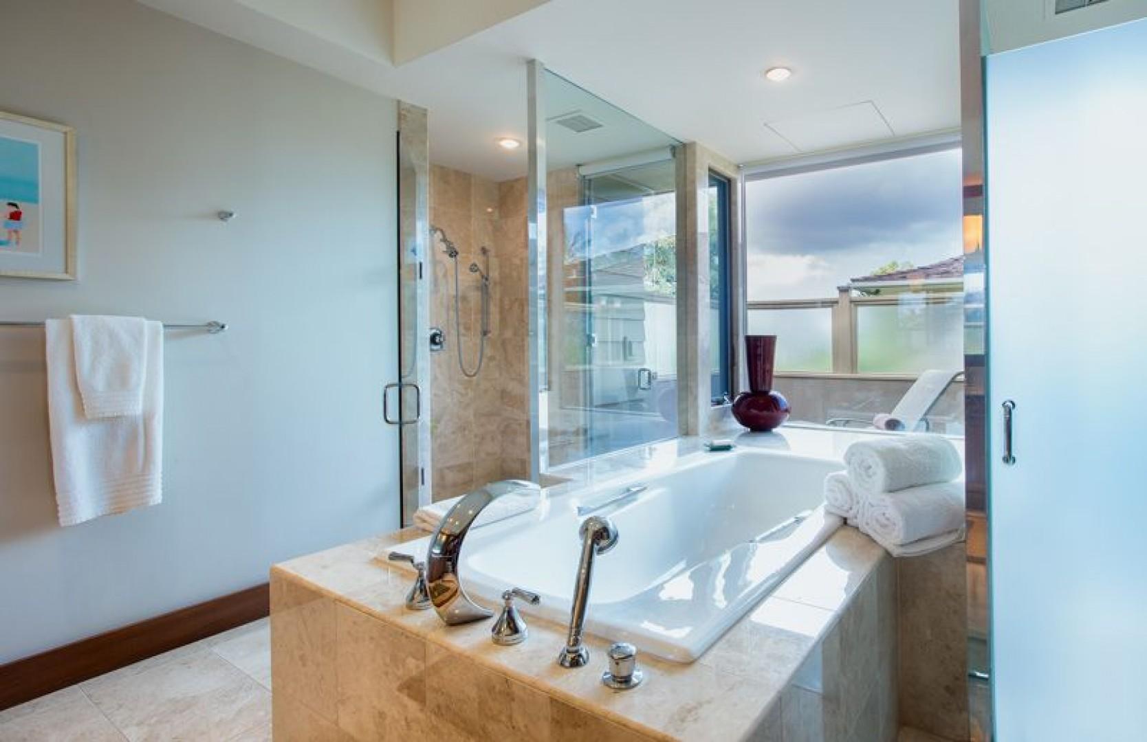 Master Bath has a soaking tub and walk in shower