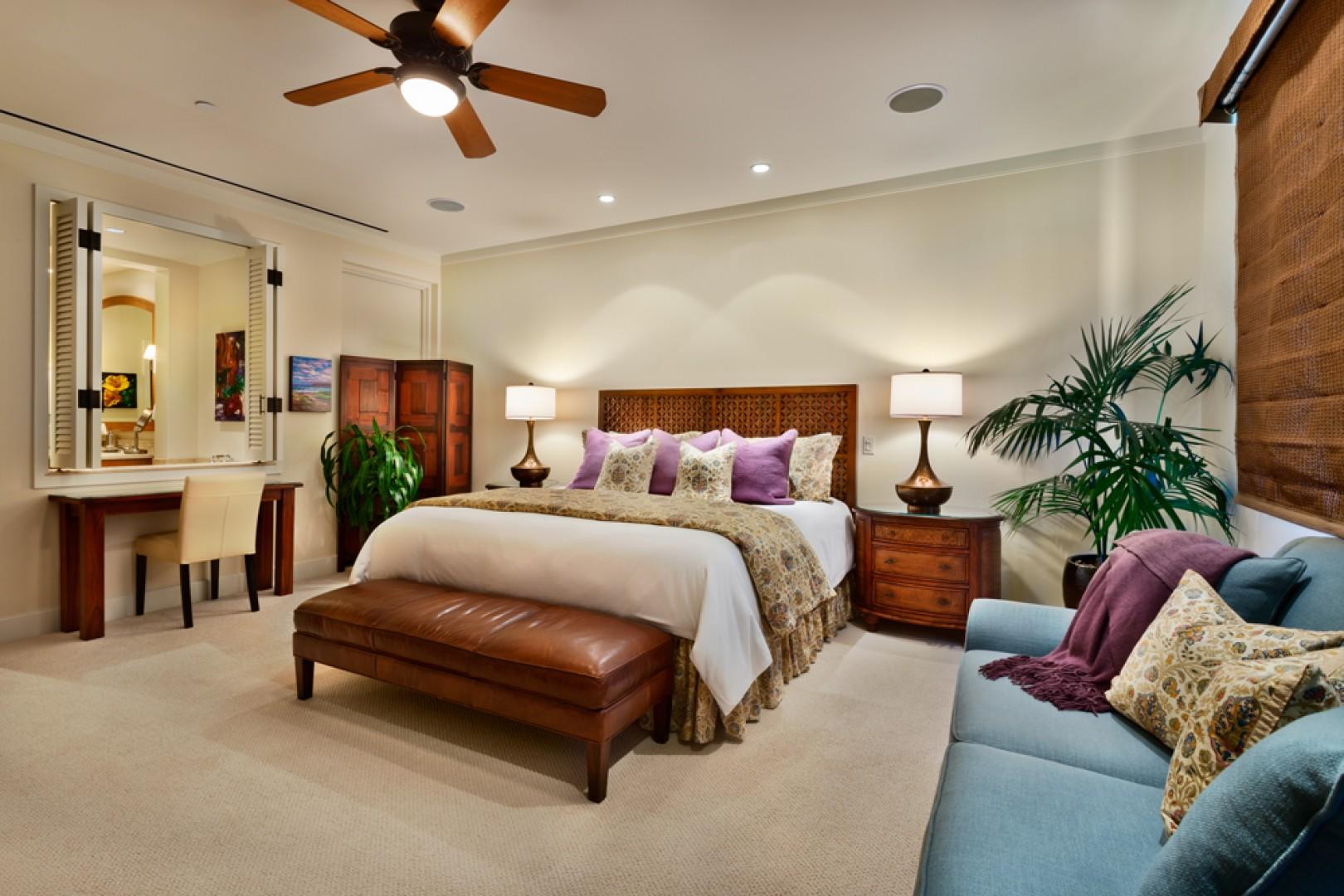 Master suite with king bed, sofa, desk, 60