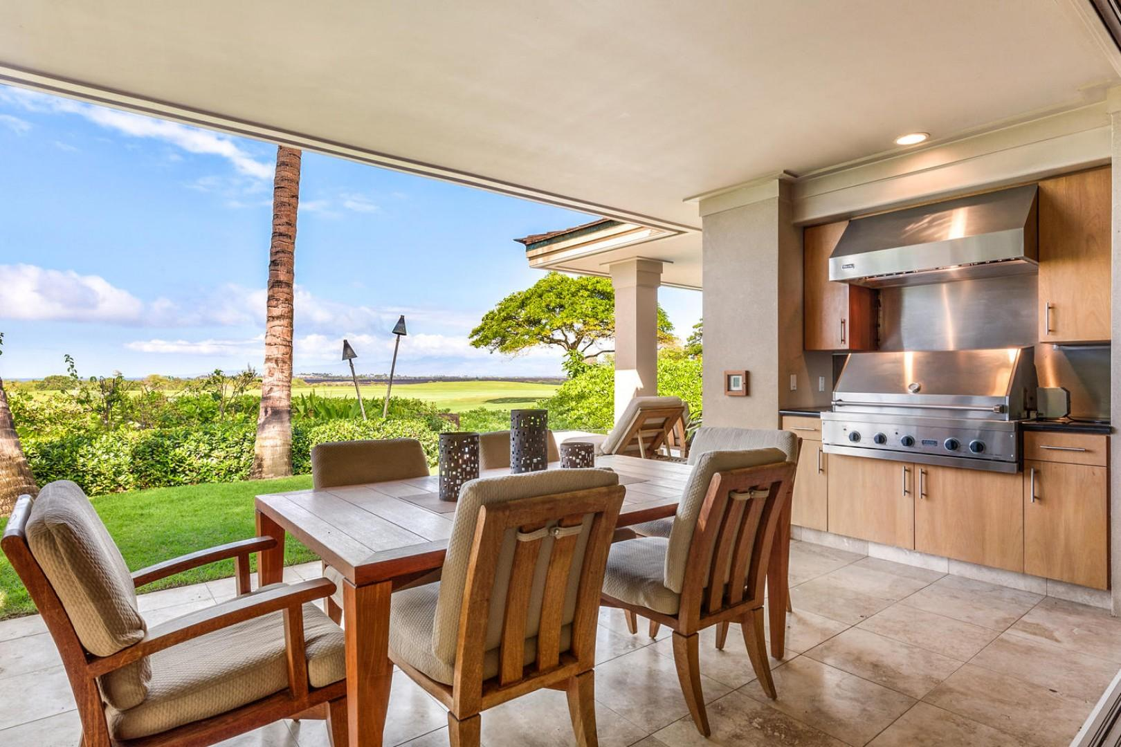 Plush outdoor dining for six with large built-in barbecue grill, perfect for our endless Hawaiian summer evenings.