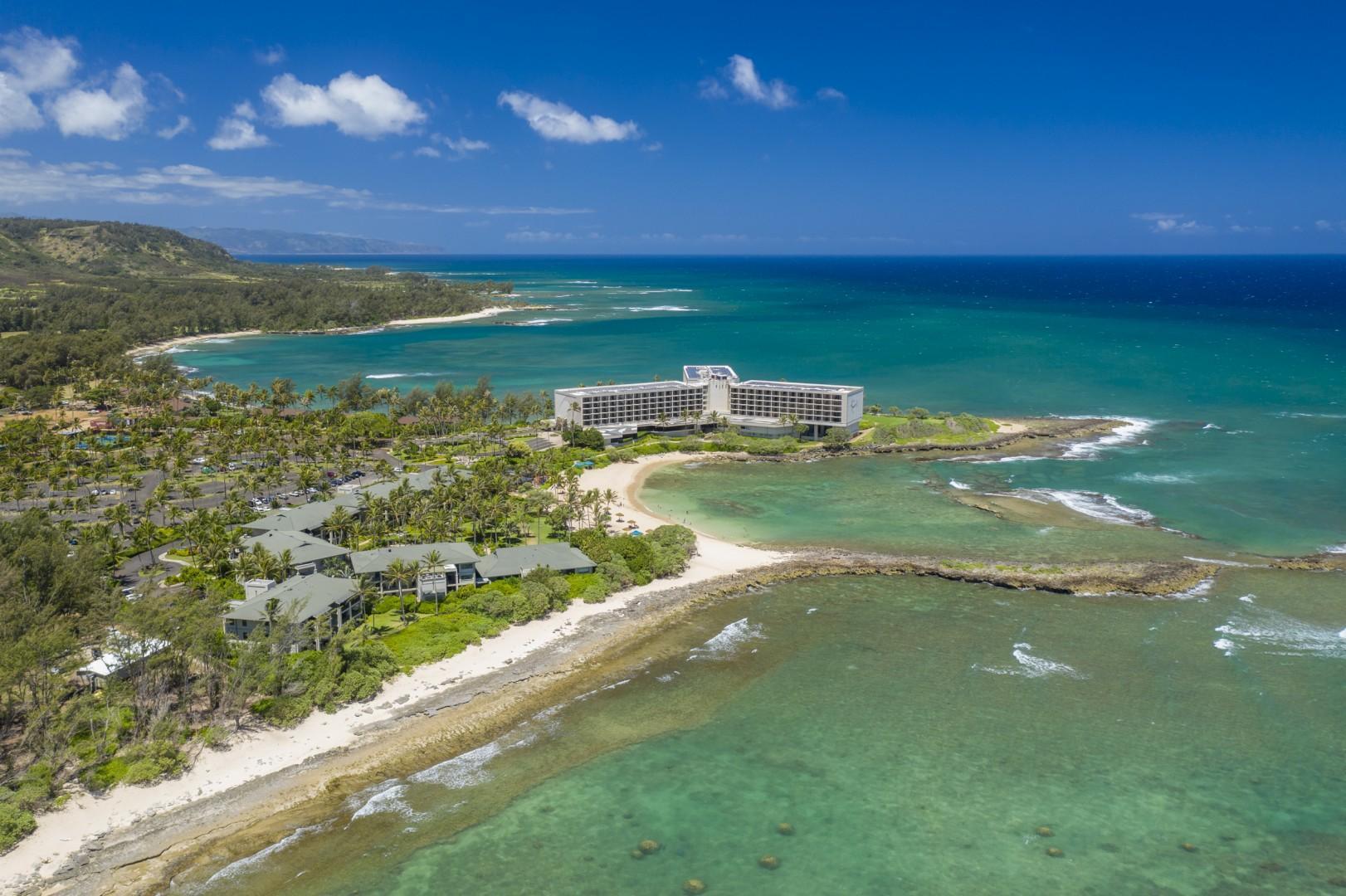 Turtle Bay Resort with surrounding beaches and bays