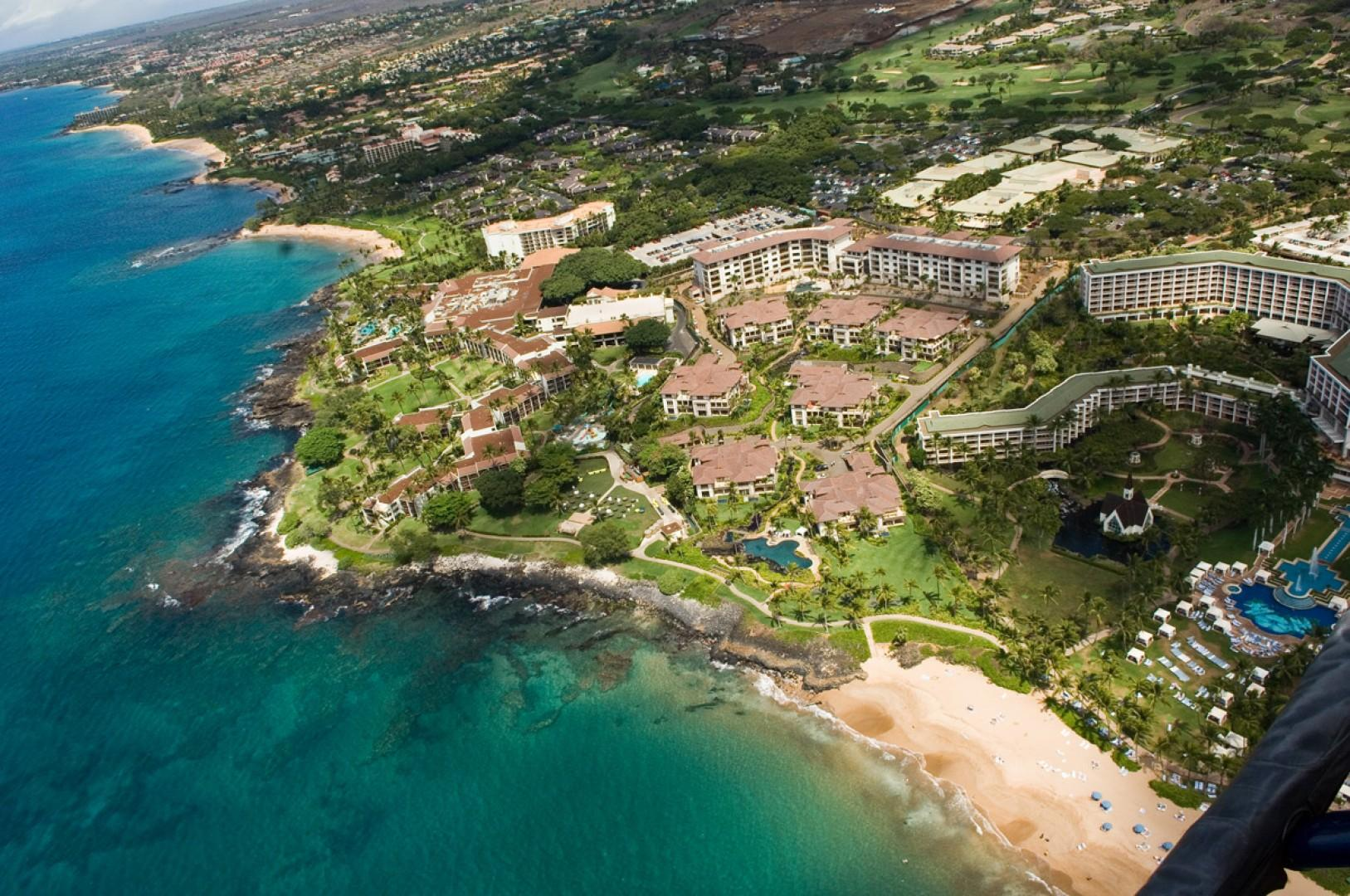 A view from the sky above Wailea Beach Villas.