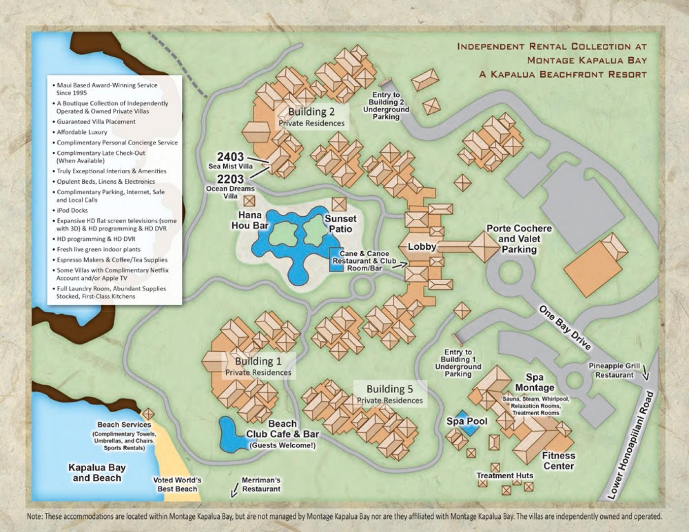 Montage Kapalua Bay Property Map